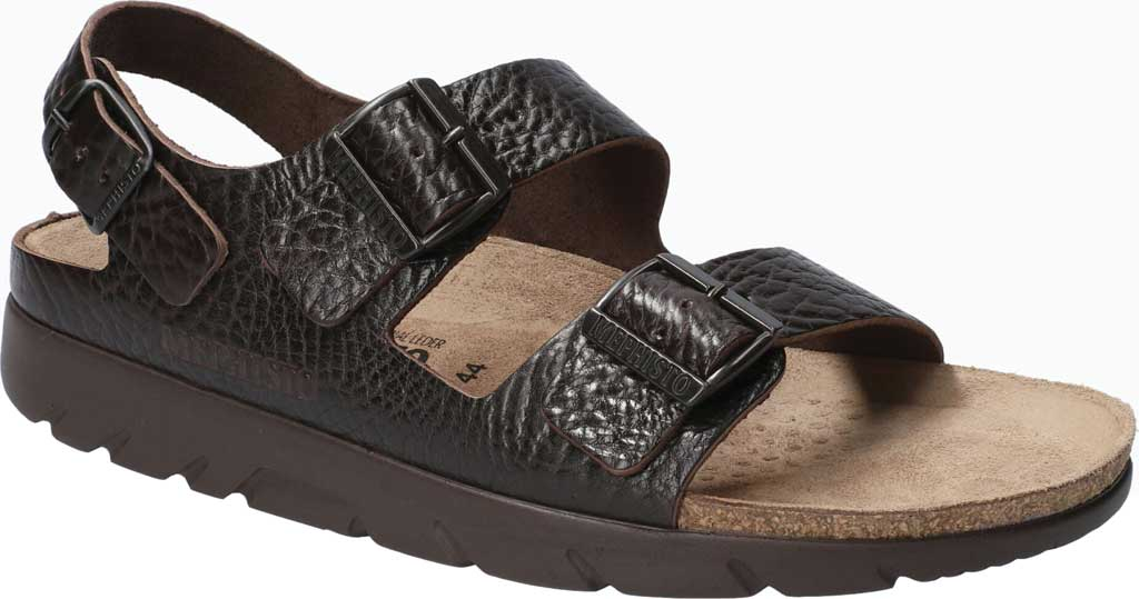 Men's Mephisto Zeus Leather Sandal, Dark Brown Buffalo Leather, large, image 1
