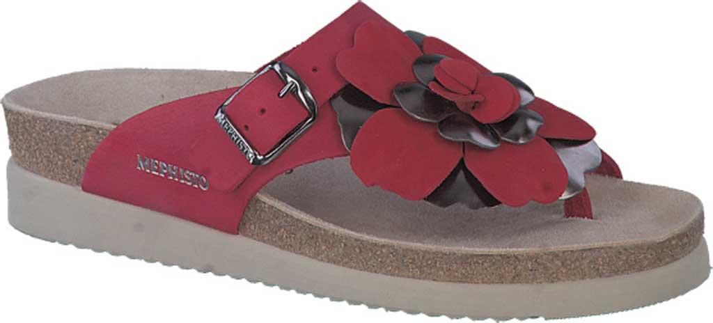 Women's Mephisto Helen Flower Toe Loop Sandal, Red Sandalbuck Nubuck, large, image 1