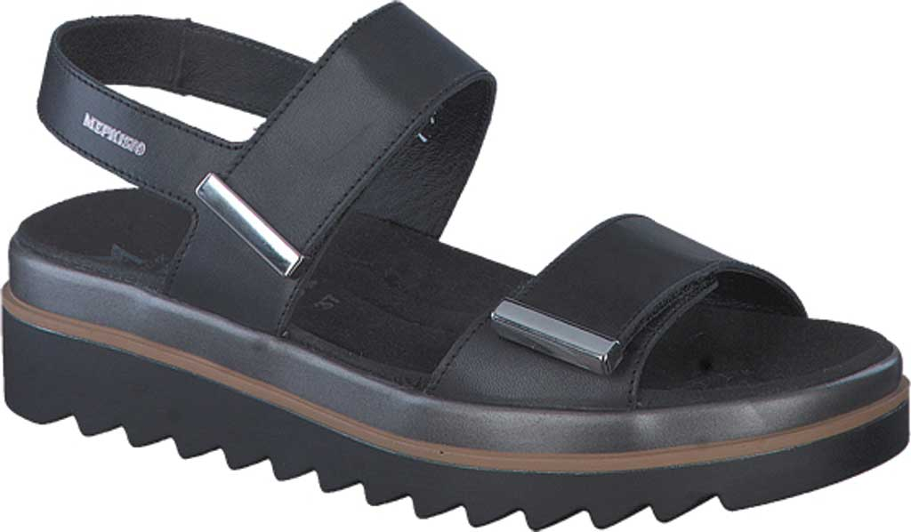 Women's Mephisto Dominica Platform Sandal, Black Softy Smooth Leather, large, image 1