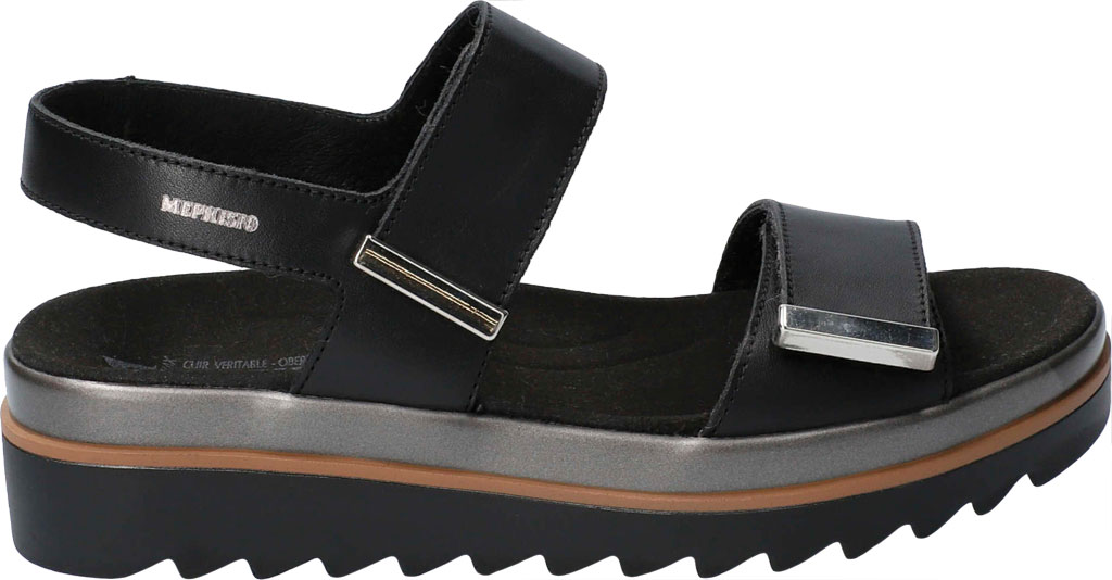 Women's Mephisto Dominica Platform Sandal, Black Softy Smooth Leather, large, image 2