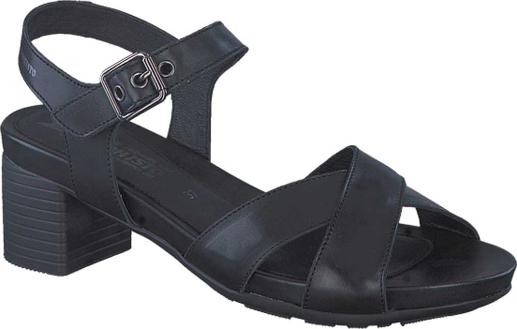 Women's Mephisto Beline Quarter Strap Heeled Sandal, Black Silk Smooth Leather, large, image 1