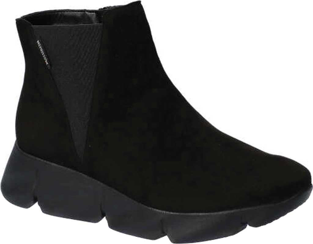 Women's Mephisto Hazelina Wedge Heel Boot, Black Velcalf Premium Suede, large, image 1