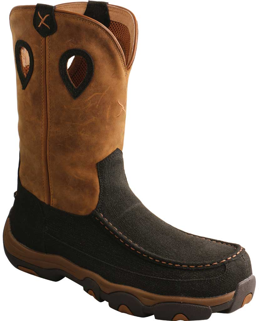 """Men's Twisted X MHKBN01 11"""" Pull On Hiker Composite Toe Work Boot, Charcoal/Tan Full Grain Leather, large, image 1"""
