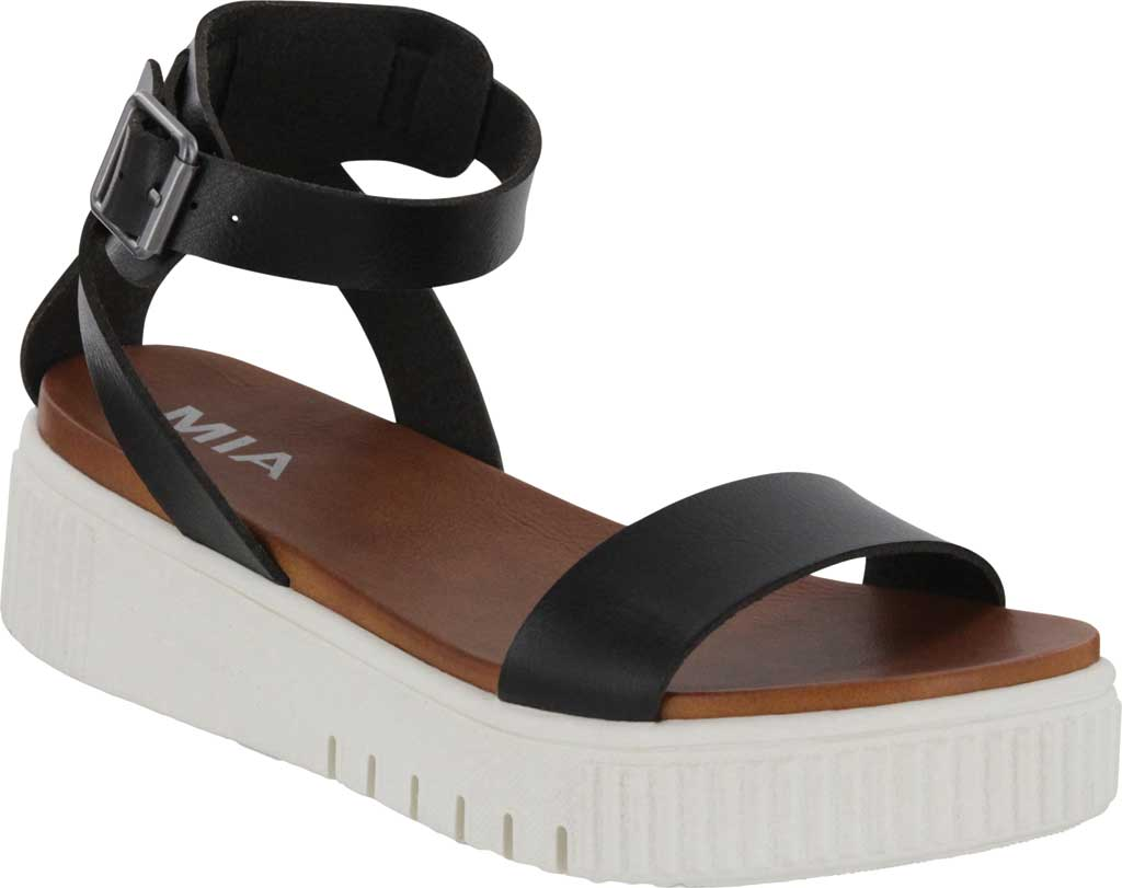 Women's Mia Lunna Athletic Sandal, Black Vegan Leather, large, image 1