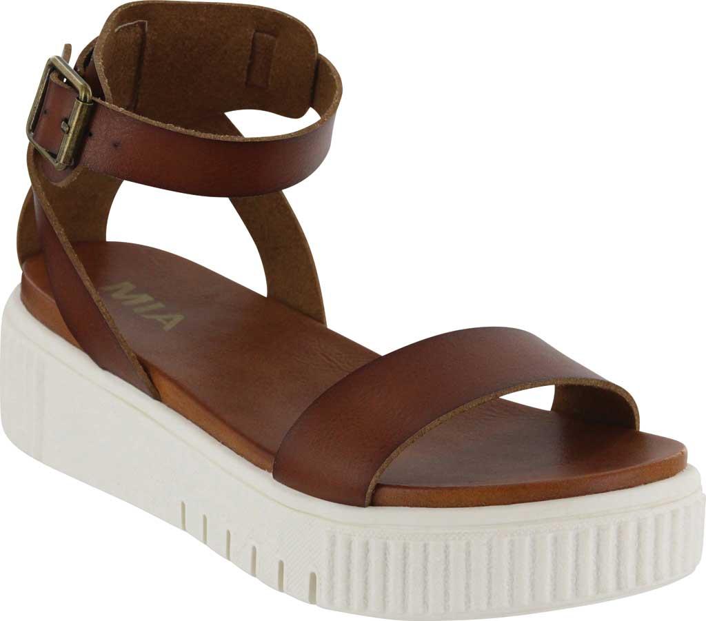 Women's Mia Lunna Athletic Sandal, Cognac Vegan Leather, large, image 1