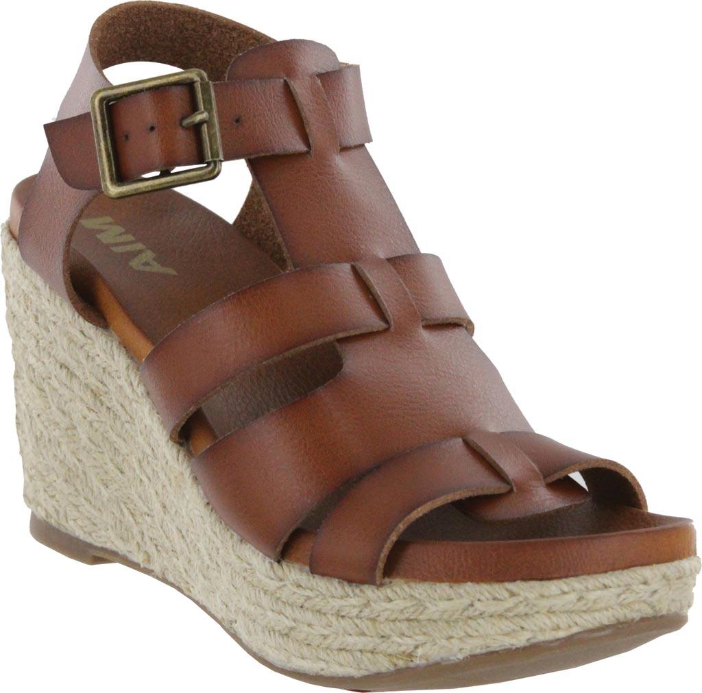 Women's Mia Giordanaa Wedge Sandal, Cognac Vegan Leather, large, image 1