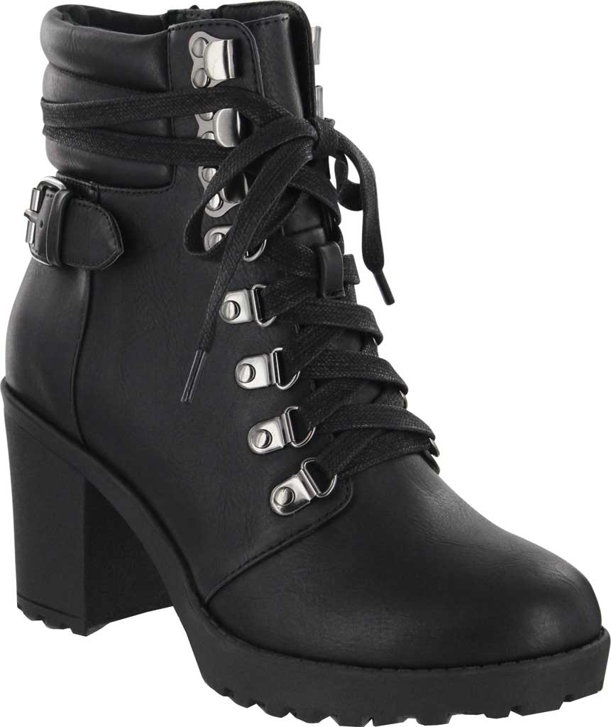 Women's Mia Annamaria Heeled Ankle Bootie, Black Vegan Leather, large, image 1