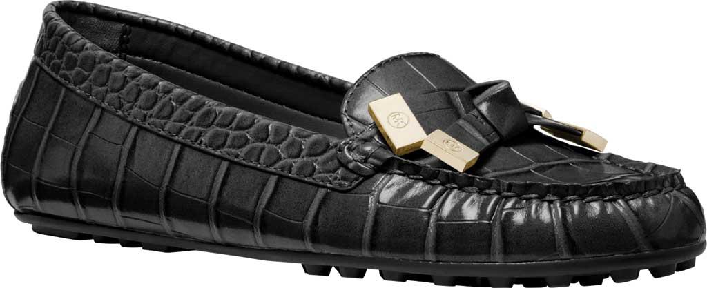 Women's MICHAEL Michael Kors Ripley Moc Toe Loafer, Black Embossed Croco Leather, large, image 1