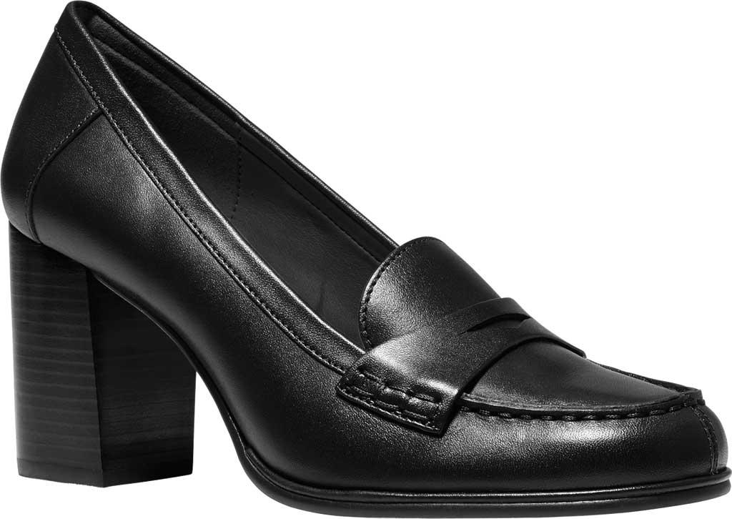 Women's MICHAEL Michael Kors Buchanan Penny Loafer Heel, Black Semi Matte Nappa/Vachetta Leather, large, image 1