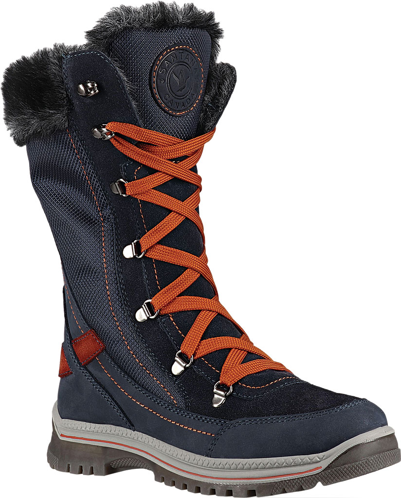 Women's Santana Canada Micah Tall Winter Boot, Navy/Rust Leather, large, image 1