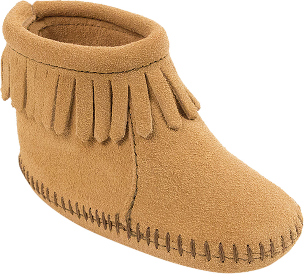 Infant Minnetonka Back Flap Bootie, Tan Suede, large, image 1