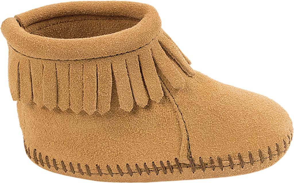 Infant Minnetonka Back Flap Bootie, Tan Suede, large, image 2