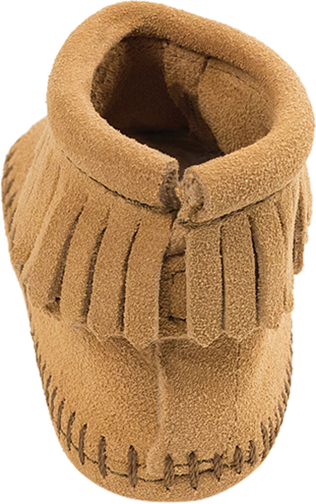 Infant Minnetonka Back Flap Bootie, Tan Suede, large, image 4