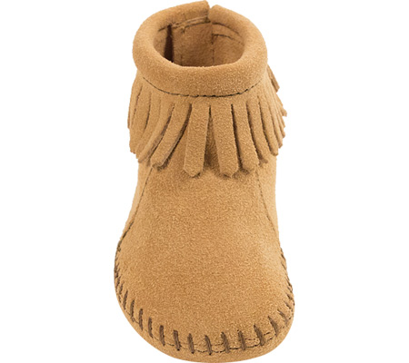 Infant Minnetonka Back Flap Bootie, Tan Suede, large, image 3