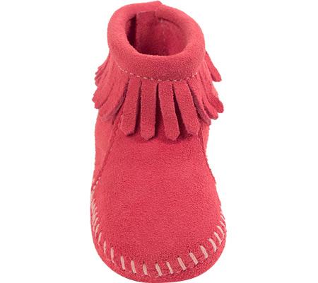 Infant Minnetonka Back Flap Bootie, Pink Suede, large, image 3