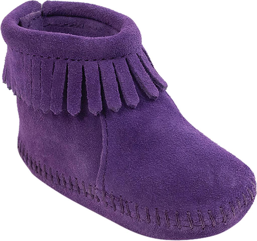 Infant Minnetonka Back Flap Bootie, Purple Suede, large, image 1