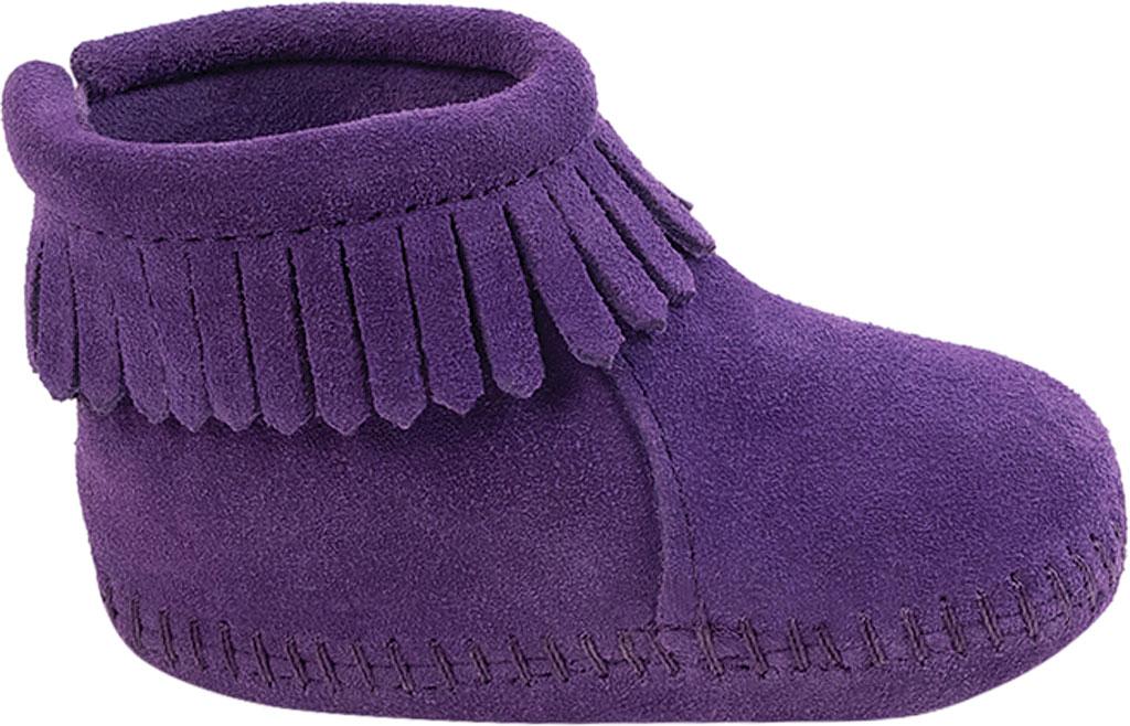 Infant Minnetonka Back Flap Bootie, Purple Suede, large, image 2
