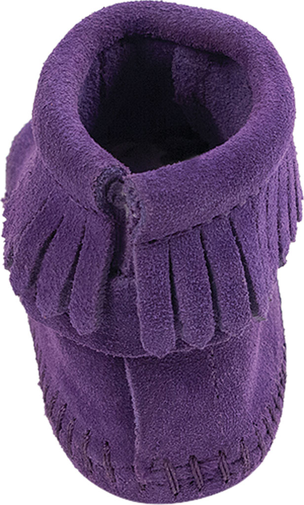 Infant Minnetonka Back Flap Bootie, Purple Suede, large, image 4