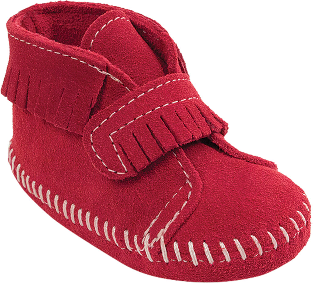 Infant Minnetonka Front Strap Bootie, Red Suede, large, image 1