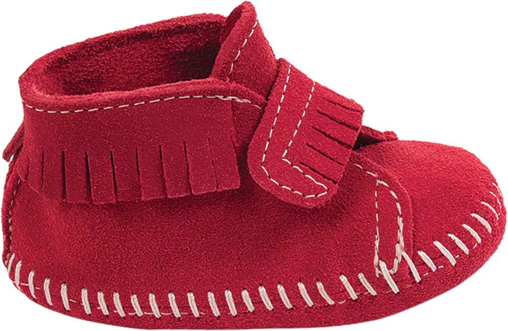 Infant Minnetonka Front Strap Bootie, Red Suede, large, image 2