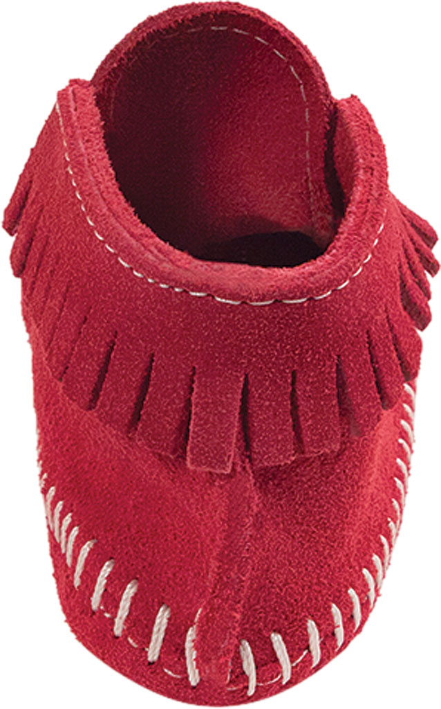 Infant Minnetonka Front Strap Bootie, Red Suede, large, image 4