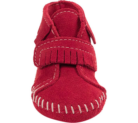 Infant Minnetonka Front Strap Bootie, Red Suede, large, image 3