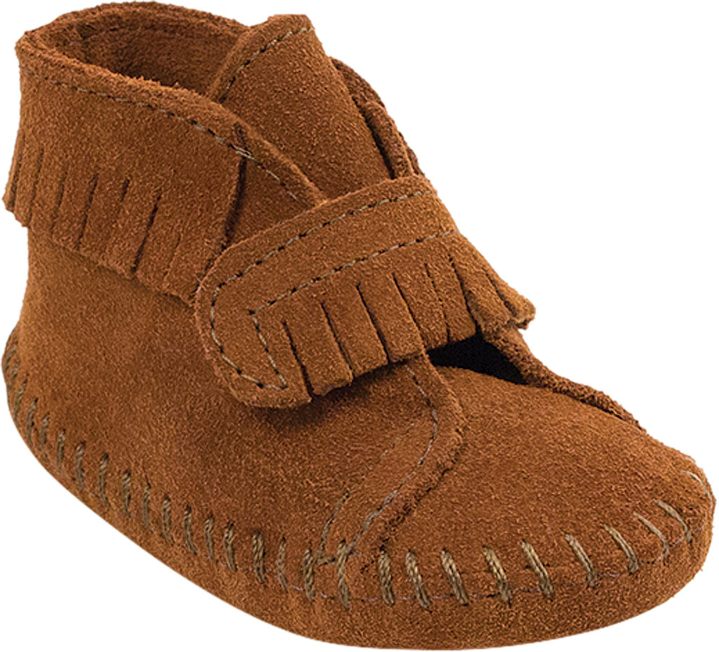 Infant Minnetonka Front Strap Bootie, Brown Suede, large, image 1