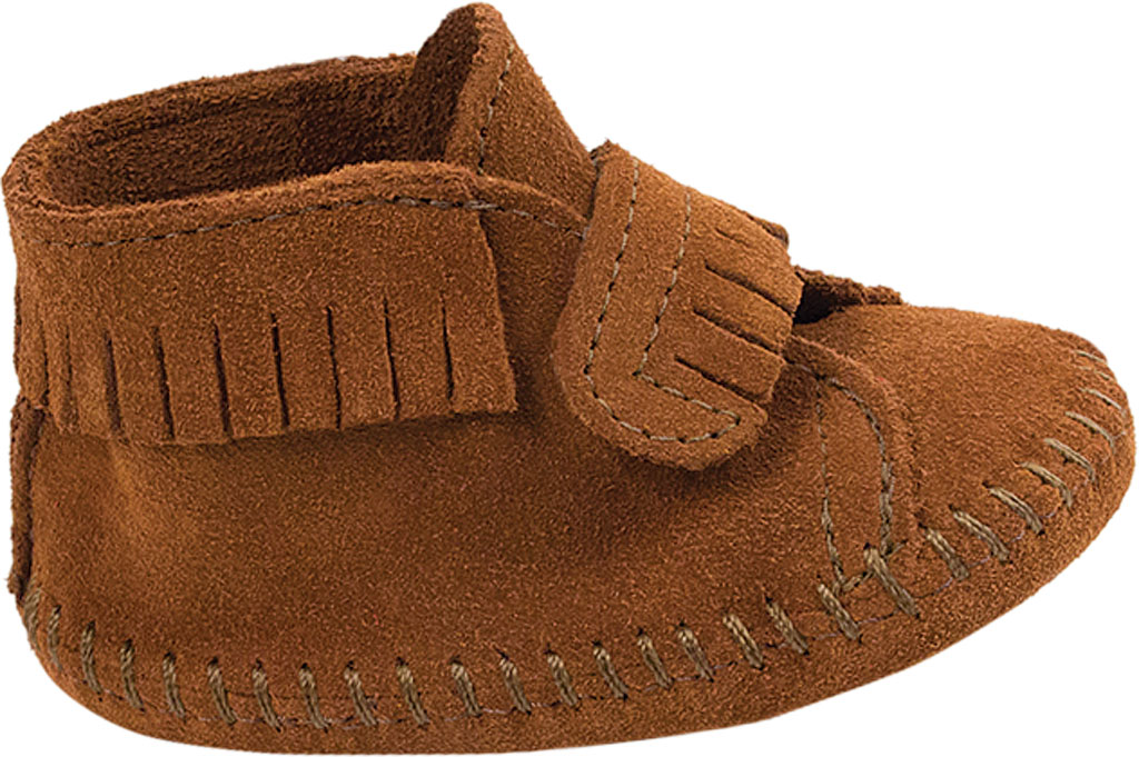 Infant Minnetonka Front Strap Bootie, Brown Suede, large, image 2