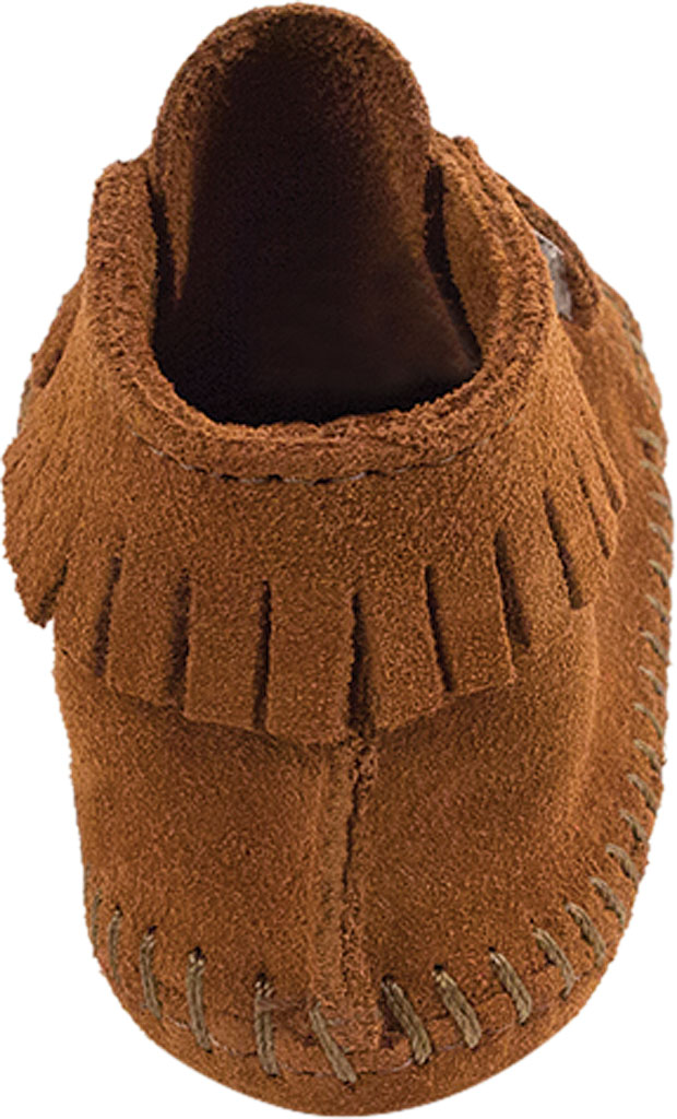 Infant Minnetonka Front Strap Bootie, Brown Suede, large, image 4