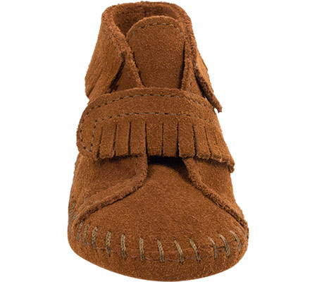 Infant Minnetonka Front Strap Bootie, Brown Suede, large, image 3