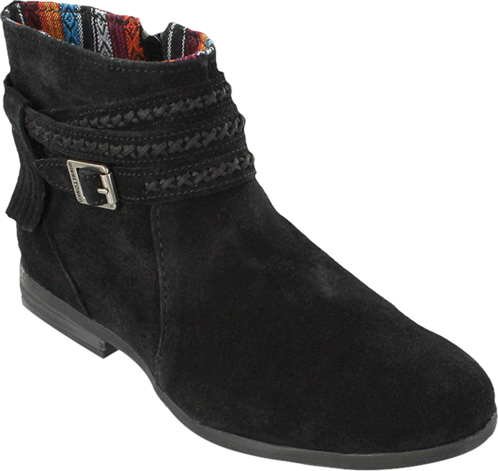 Women's Minnetonka Dixon Boot, Black Suede, large, image 1
