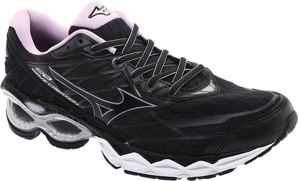 Women's Mizuno Wave Creation 20 Running Shoe, Black, large, image 1