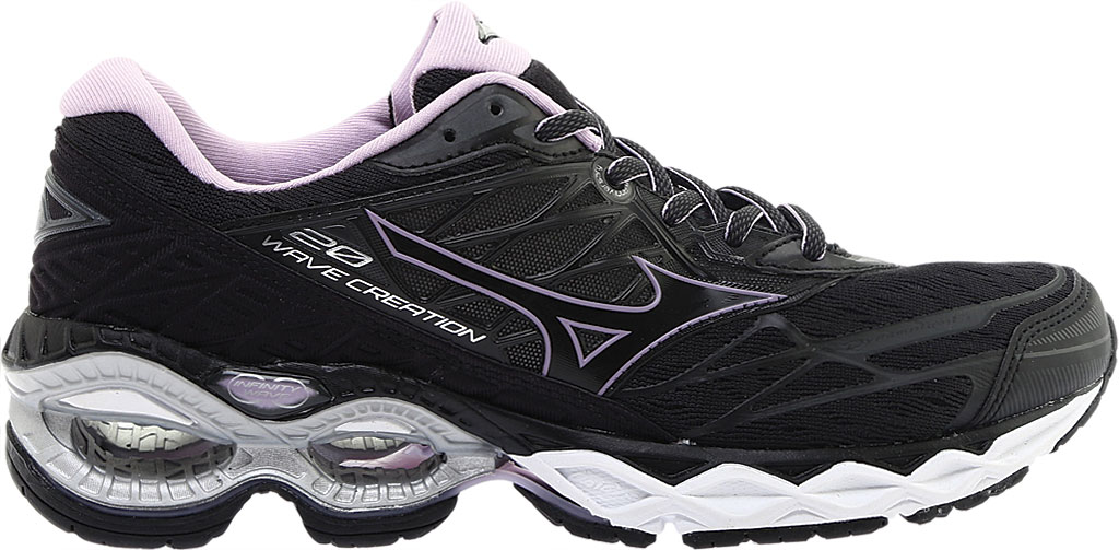 Women's Mizuno Wave Creation 20 Running Shoe, Black, large, image 2