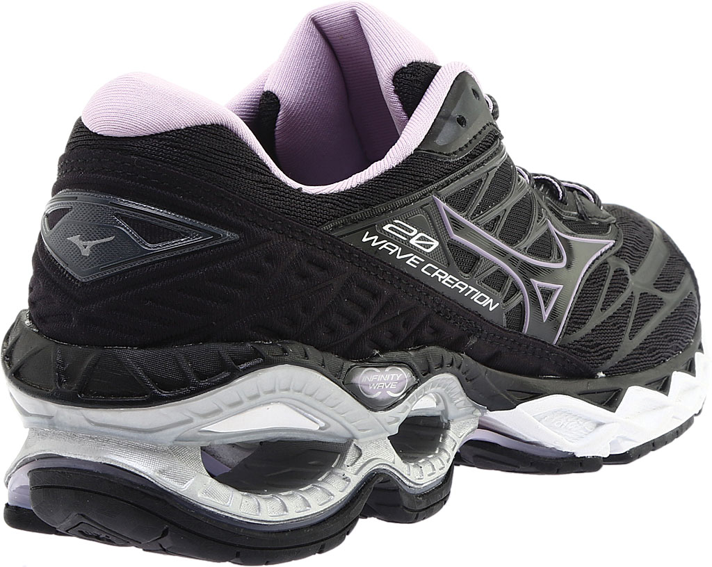 Women's Mizuno Wave Creation 20 Running Shoe, Black, large, image 4