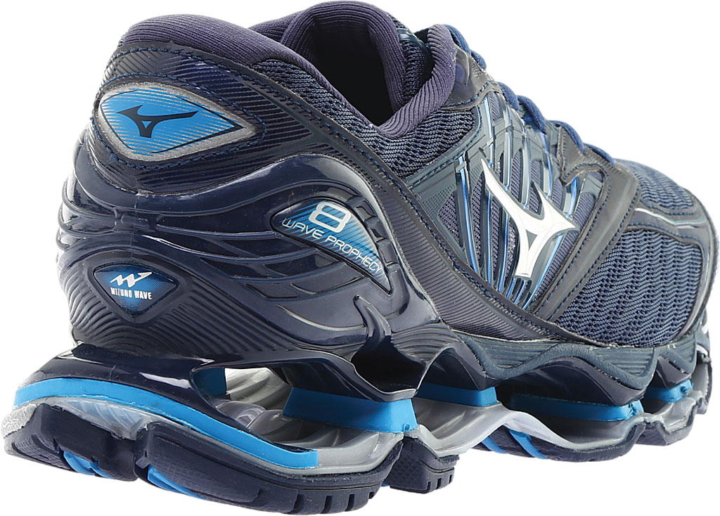 Men's Mizuno Wave Prophecy 8 Running Shoe, Blue Wing Tail/Silver, large, image 4
