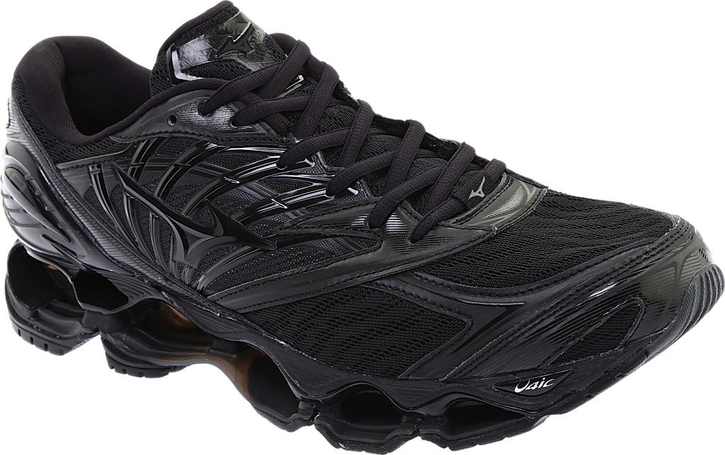 Men's Mizuno Wave Prophecy 8 Running Shoe, Black/Black, large, image 1