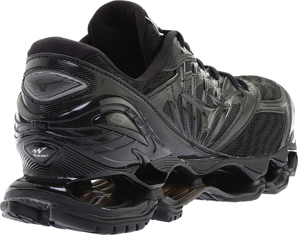 Men's Mizuno Wave Prophecy 8 Running Shoe, Black/Black, large, image 4