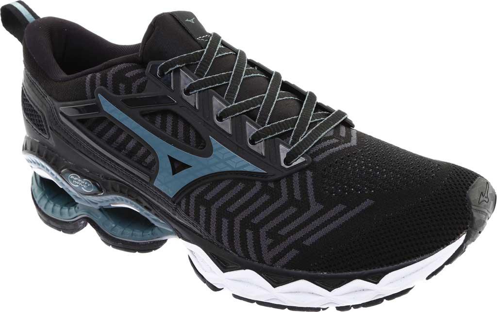 Men's Mizuno WaveKnit C1 Running Shoe, Black/Stormy Weather, large, image 1