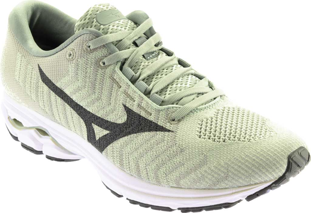 Men's Mizuno Rider WaveKnit 3 Running Shoe, Bok Choy/Dark Shadow, large, image 1