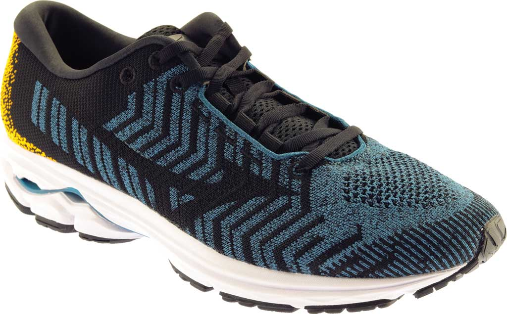 Men's Mizuno Rider WaveKnit 3 Running Shoe, Moroccan Blue/Black, large, image 1
