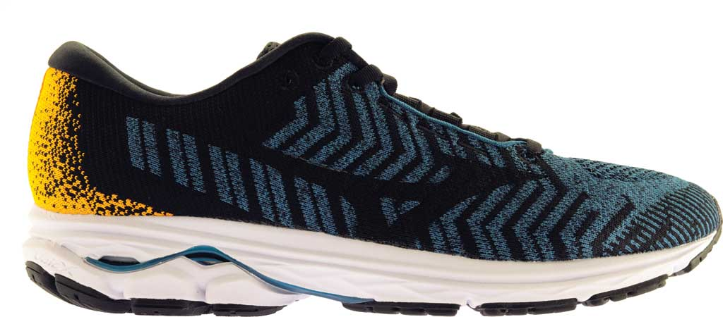 Men's Mizuno Rider WaveKnit 3 Running Shoe, Moroccan Blue/Black, large, image 2