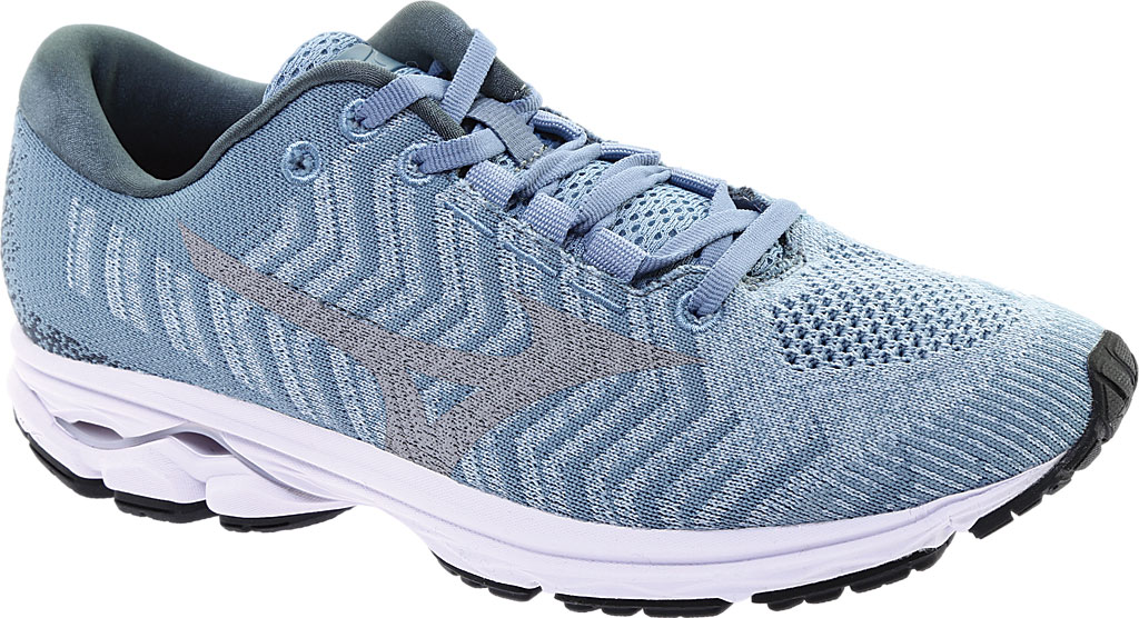 Women's Mizuno Rider WaveKnit 3 Running Shoe, Blue Fog/Vapor Blue, large, image 1