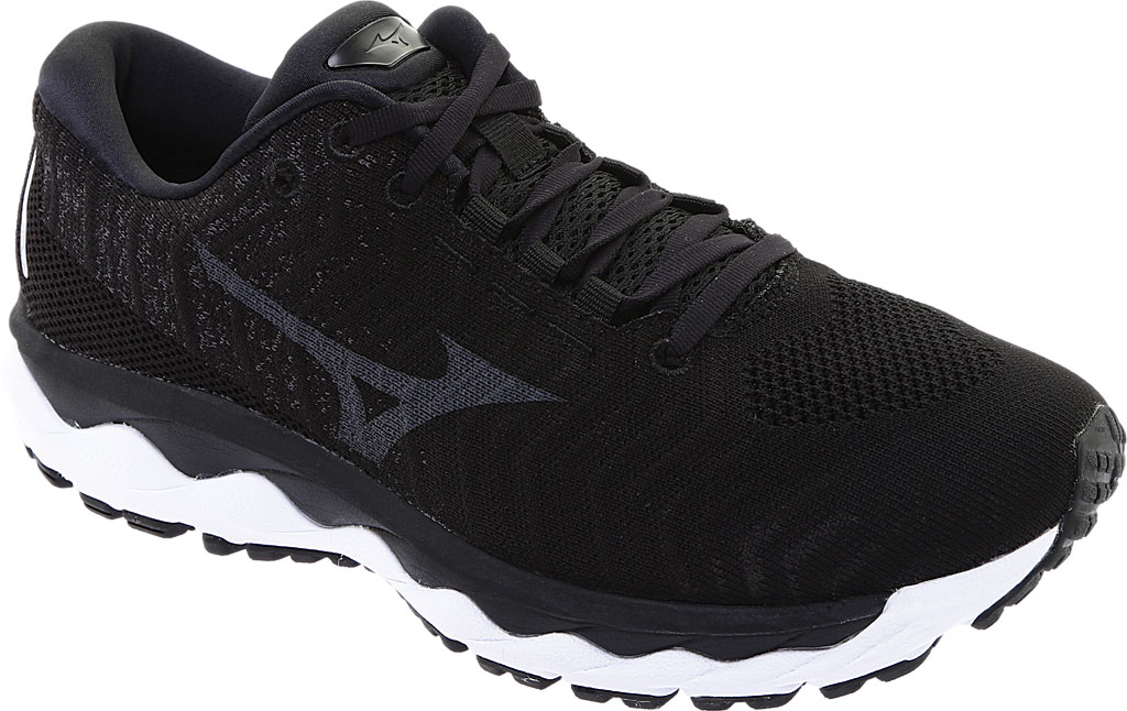 Men's Mizuno Sky WaveKnit 3 Running Shoe, Black/Black, large, image 1