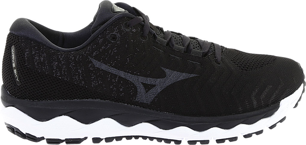 Men's Mizuno Sky WaveKnit 3 Running Shoe, Black/Black, large, image 2