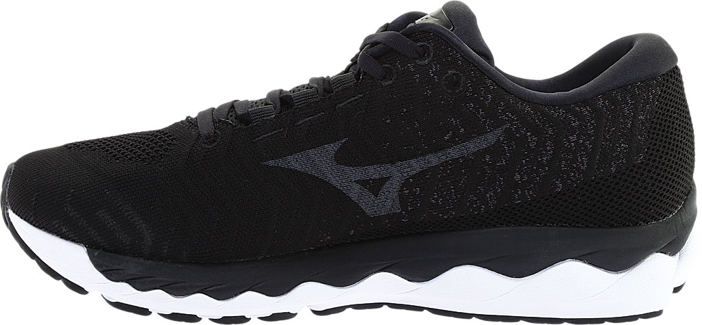 Men's Mizuno Sky WaveKnit 3 Running Shoe, Black/Black, large, image 3