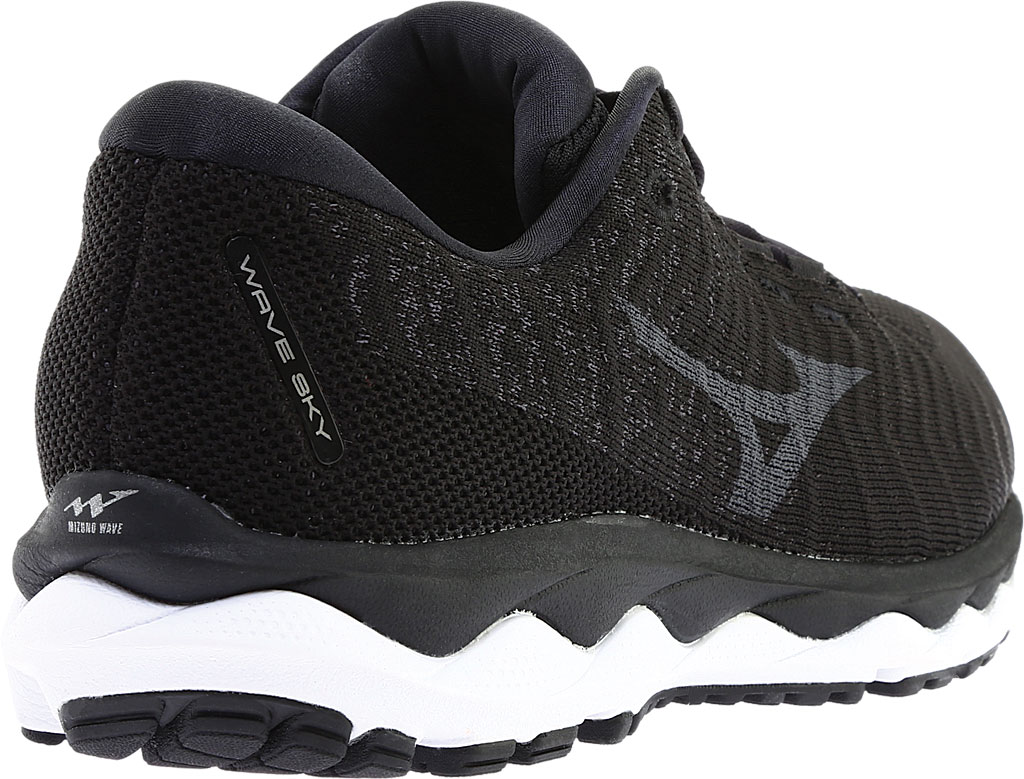 Men's Mizuno Sky WaveKnit 3 Running Shoe, Black/Black, large, image 4