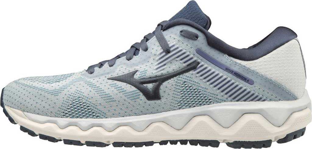 Women's Mizuno Wave Horizon 4 Running Shoe, Arctic Ice/Mood Indigo, large, image 3