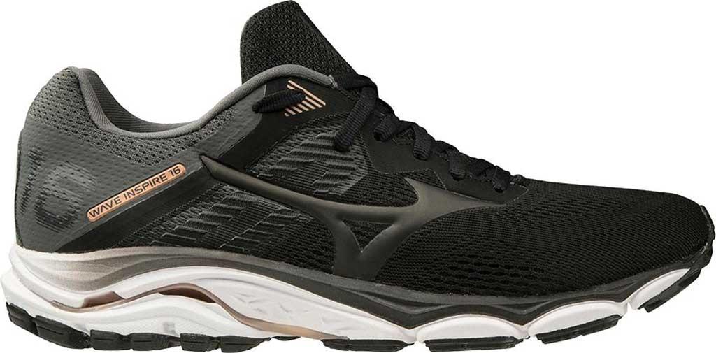Men's Mizuno Wave Inspire 16 Running Shoe, Black, large, image 1