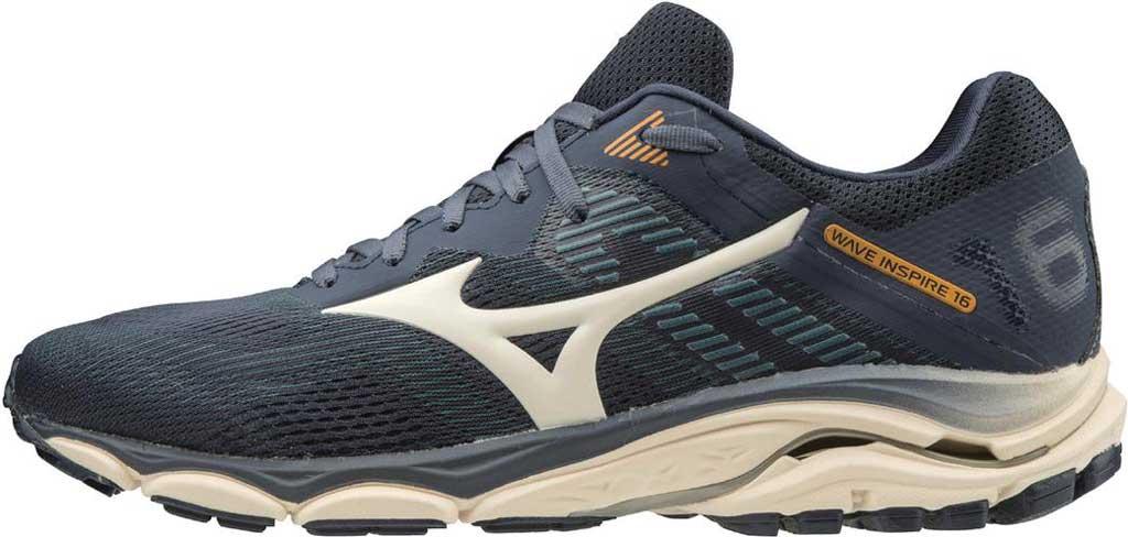 Men's Mizuno Wave Inspire 16 Running Shoe, Mood Indigo/Winter White, large, image 3