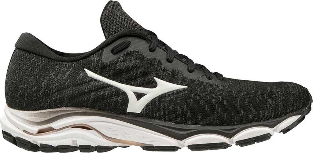 Women's Mizuno Inspire 16 WaveKnit Running Shoe, Black/White, large, image 2